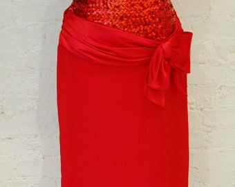 1950's Style Red Sequined  Bombshell Dress