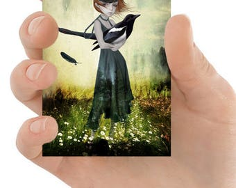 ACEO Card | Magpie ACEO Art Card | Girl & Magpie | ACEO Print  | One For Sorrow