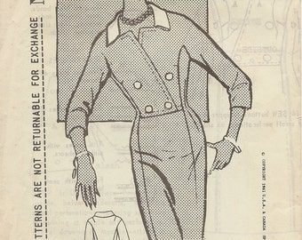 1960s Vintage SPADEA Misses' Double Breasted Dress Sewing Pattern - Size 16-1/2 Factory Folded