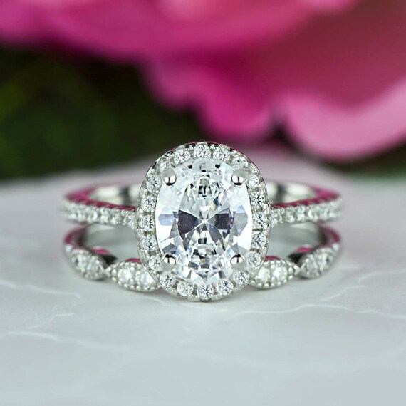 1.5 ctw Oval Halo Bridal Set Art Deco Wedding Ring Man Made