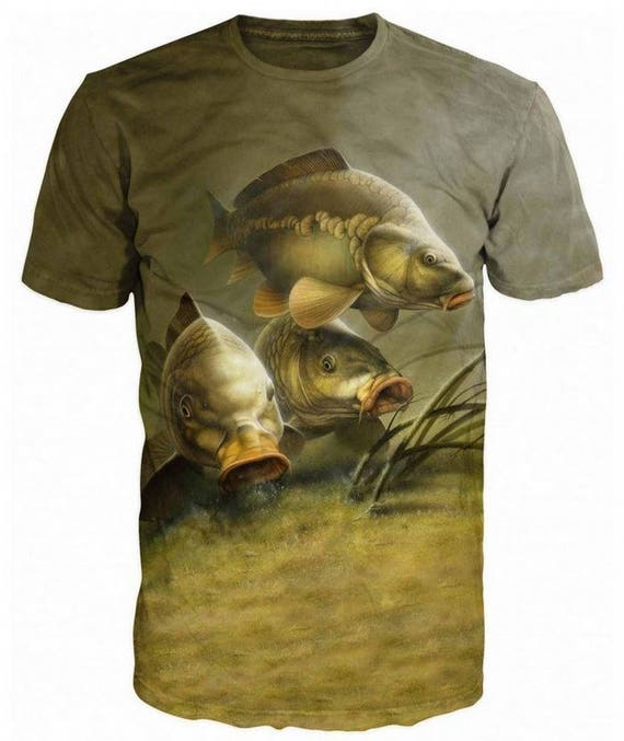 Cool 3D Sublimation Printed Camouflage Carp Fishing Mens T-shirt vs2Ms