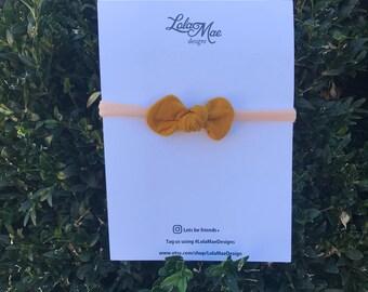 Mustard, Traditional Knot Bow, Nylon Headband