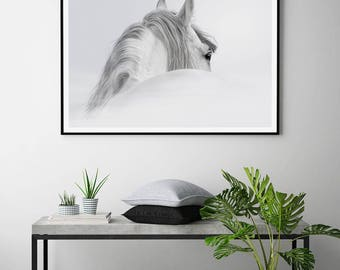 The White Horse B&W Photography Scandi Style Art Print