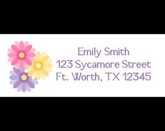 30 Return Address Labels   -  Gerber Daisy - Gerber Daisies  - Flower Address Labels
