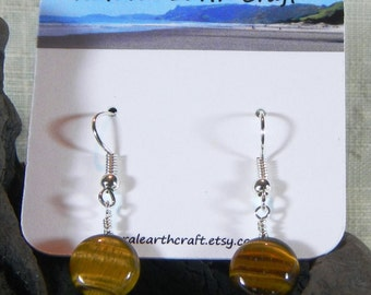 Brown tigers eye earrings circle jewelry semiprecious stone jewelry packaged in a colorful gift bag 3013 B