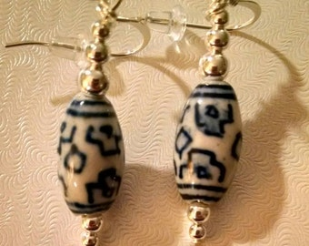Ceramic Blue and White Oblong China Pattern Earrings Item No. 98