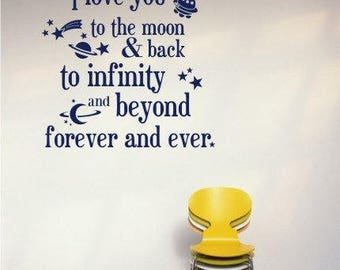 Nursery Wall Decals Text Moon and Back Kids Wall Quotes Custom Home Decor