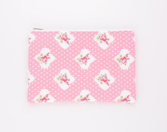 Pink Rose Polka Dot Zipper Pouch, Pencil Case, Purse Organizer, Cosmetic Bag, Travel Purse, Party Favors, Bridesmaids Gift