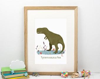 Dinosaur Print - Tyrannosaurus Rex - Gift For Boy - Kids Bedroom Print - Nursery Decor - Dinosaur Nursery Art - New Baby Gift - T Rex Poster