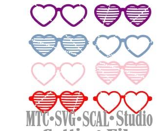 SVG coupe fichier coeur lunettes de soleil stores lot de 8 MTC Cricut SCAL Silhouette fichiers de coupe