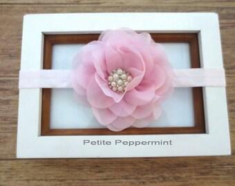 Pink Baby headband, infant headband, newborn headband, pink toddler hair bow, girl headband, Pink girl hair bow, baby headband flower