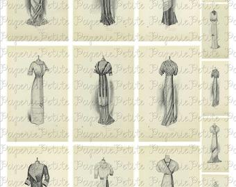 Vintage Women's Dresses Digital Download Collage Sheet 3.5 x 2.25