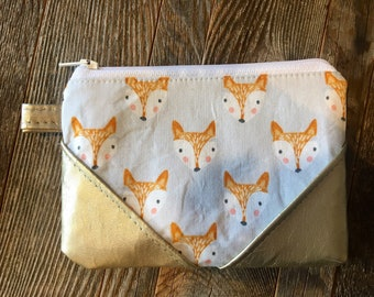 Fox Coin Purse/cotton wallet/ladies purse/wallet/fox/womans wallet/children's wallet
