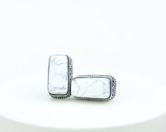 White Buffalo Turquoise HOWLITE Vintage Filigree Antique 925 Fine S0LID Sterling Silver Men's / Unisex CUFFLINKS K551