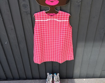 Pink 1960s check daisy girls shift dress 3 years vintage