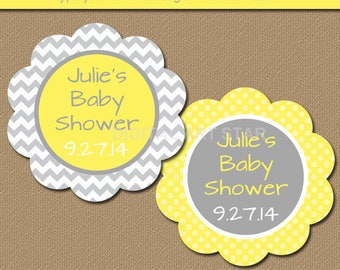 Baby Shower Favor Tags, DIY Printable Thank You Tags Yellow Gray Chevron, Gender Neutral, INSTANT DOWNLOAD Birthday Party, Bridal Shower BB1