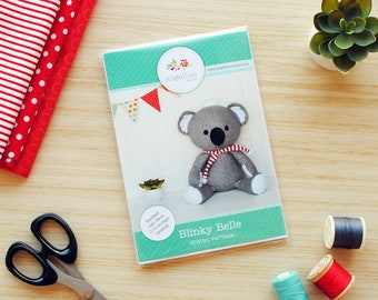 Koala Sewing Pattern HARD COPY Paper Koala Softie Sewing Pattern Stuffed Animal Pattern