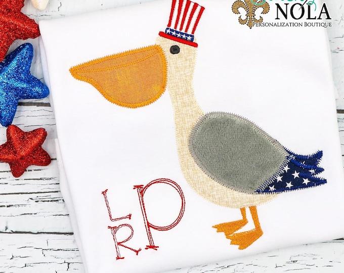 Featured listing image: Patriotic Pelican Applique, Patriotic Applique, Fourth of July Shirt, Memorial Day Shirt, Pelican Shirt, Toddler Pelican Tee
