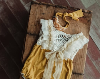 Mustard and lace romper set.  Sitter.