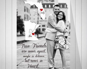 Long Distance Friendship | Going Away Gift | Moving Gift | Map Art Print | Birthday Present For Friend | Friends Photo Quote- 51677