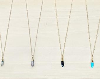 Mini Gemstone Spike Necklace, Gemstone Point Necklace, Crystal Point Choker