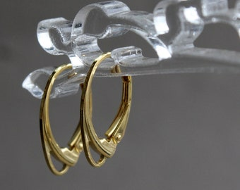 925 Sterling Silver 14K Gold Lever Back Earring Wires, 1 pair Leverback Earrings, Sterling Silver 14K Gold Plated, Earring Components