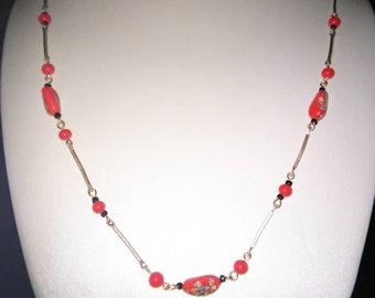 Red Millefiori Bead Necklace
