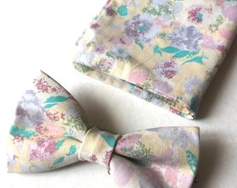 Pastelcolor men's cotton bowtie eith matching pocket square