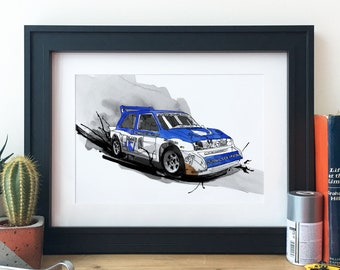 Metro 6R4 Rally Car Illustration