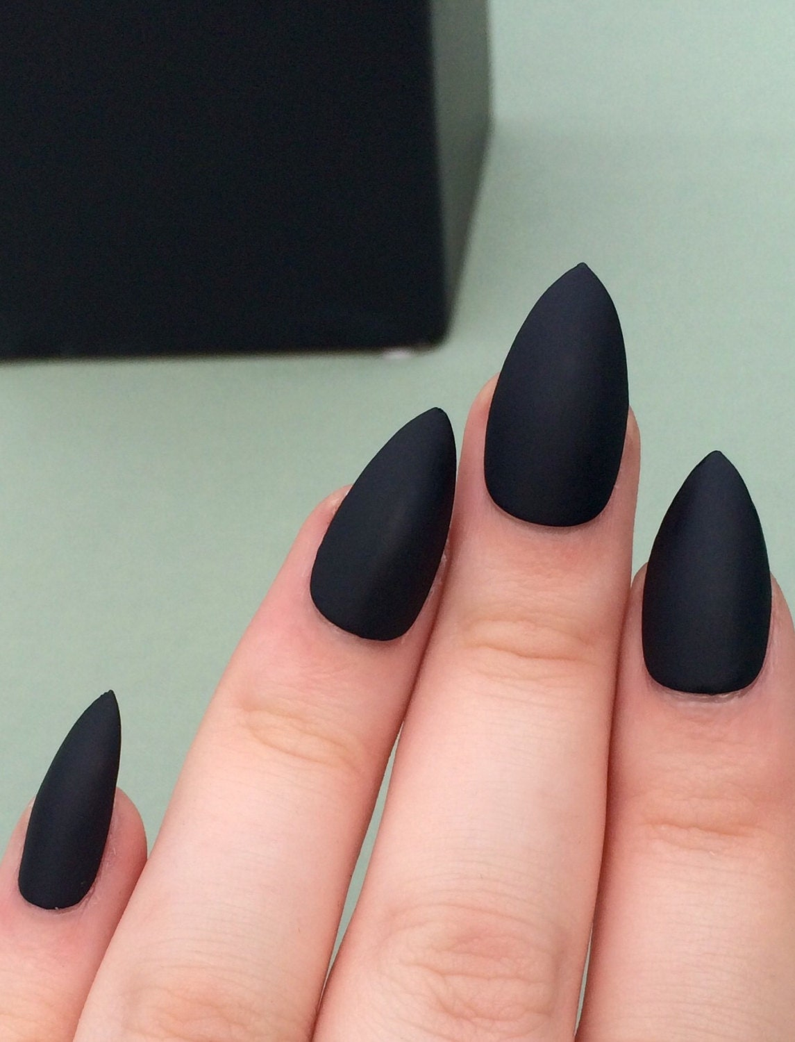 Matte black nails stiletto nails coffin nails fake nails