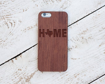 Wood Case, Texas, Home, iPhone 8, iPhone X, 7, 7 Plus, 6s, 6 6 Plus, 5s, 5, SE, Samsung Galaxy S8, S7, S6, Cover, Engraved #4003