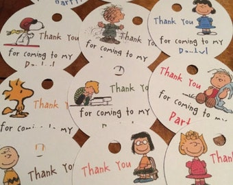 12 Peanuts Gang Party Favor Thank You Tags or Place Cards