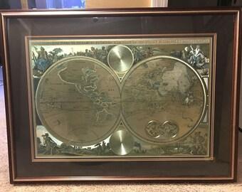 vintage map framed map gold foil map orbis terrarum double hemisphere