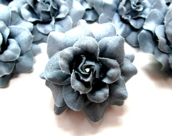 12 Gray Steel mini Roses Heads - Artificial Silk Flower - 1.75 inches - Wholesale Lot - for Wedding Work, Make Hair clips, headbands