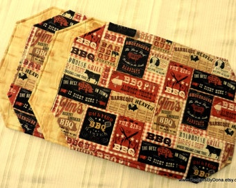 One or More Quilted, Reversible Placemats, Bar-Be-Que/BBQ/BARBEQUE and Light Pine Wood Grain, Handmade Table Linens
