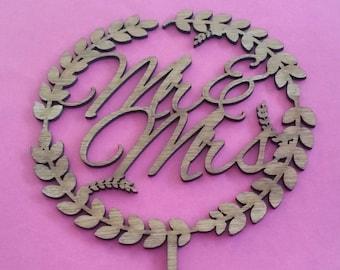 Mr & Mrs Vine Wooden Cake Topper Wedding Engagement