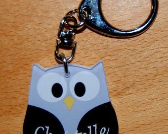 OWL Keychain / OWL black and grey name or text