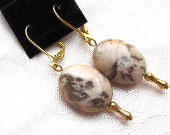 Graphic Feldspar Oval Dangle Earrings with Gold Plated Findings.