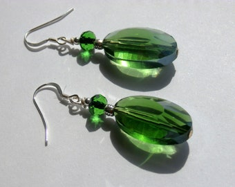 Faceted Green Glass Jewel Earrings With Sterling Silver