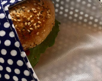 Sandwich Wrap, Reusable, polka dot print