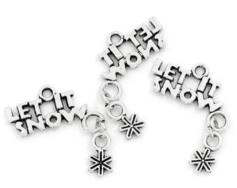 LET IT SNOW charm in antique silver (x 2)