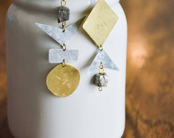 Geometric Asymmetrical Pyrite Earrings, Brass and Aluminum Hand Cut Metal, Silver and Gold Boho Stone Jewelry, Mismatched Earrings