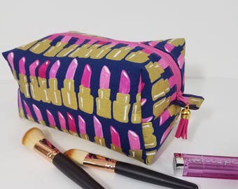 Gorgeous Pink Lipstick Boxy Bag - Make Up Bag - Cosmetic Bag - Bridesmaid Bag -Travel Bag