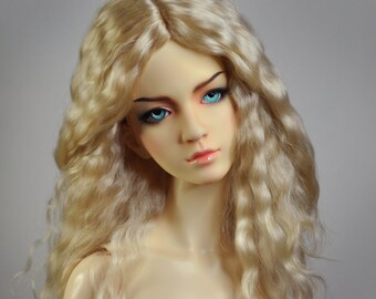 """Sunny Blonde - natural Angora BJD wig - Size 8-9"""" - Ready for shipping"""