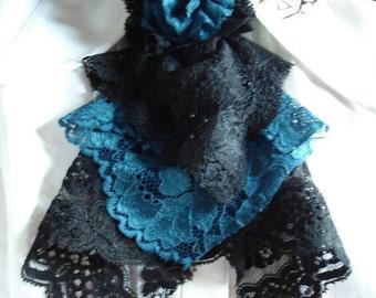 black/blue with flower lace jabot