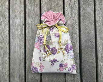 Linen Rose Tarot / Oracle Bag Lined with Pink Blush Dupion Silk