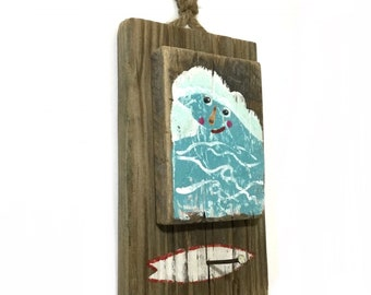 Wave Surf Art Beach Decor Hook-Personalize and Adopt This Original Art Item-Waves Painting OOAK Reclaimed Wood Surf Home Decor-Mangoseed