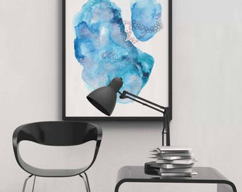 Blue Abstract Watercolor Print. Modern Abstract Blue Art Print
