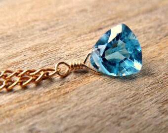 December Birthstone Necklace | Blue Topaz Birthstone | Blue Topaz Gold Necklace | Good Fortune Gemstone | 14k Gold Fill | Gift For Birthday