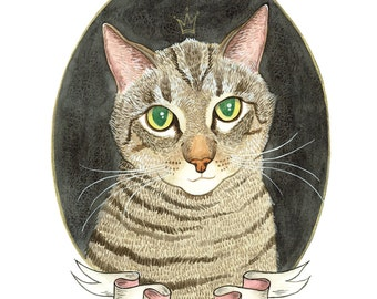 Custom Cat Portrait. Striped Cat. Cat Art. Custom Pet Portrait. Custom Pet Painting. Pet Watercolor. 9x12 in